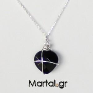 Μενταγιόν-Καρδιά-από-μαύρο-όνυχα-και-ασήμι-2-300x300